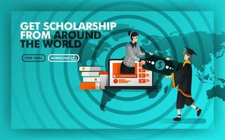 Vector illustration green website banner about get scholarship from around the world. Bachelor earn money from women coming out of  laptop against the background of world maps and rada. Flat style