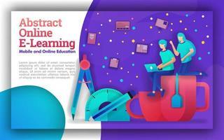 ilustración para el aprendizaje en línea abstracto con temas vívidos. Los programas educativos para el aprendizaje en línea ayudan al gobierno, a los estudiantes y a los maestros a mejorar la educación, el tiempo de estudio y determinar las políticas educativas. vector