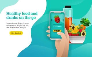 3D fruits. Healthy food and drinks on the go. people are ordering healthy fruits and vegetables with the application. can use for, landing page, web, mobile app, online promotion, internet marketing vector