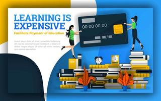 illustration of learning is expensive. students holding credit cards on piles of books. fees for general education, universities, elementary education, daily education schooling for online learning vector