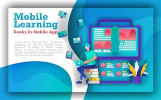 Abstract illustration for mobile learning and education. students sit in piles of books, books that come out of smartphone. online learning using mobile apps. Learning programs make education upgrades vector