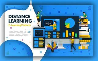 Vector distance learning technology illustration. Internet based school education and learning videos. distance learning technology supports open learning, public schools and learning processes focus