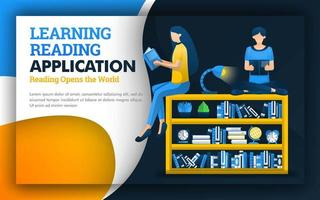 illustration of learning reading application. students read above the bookshelf. reading improves quality education and learning skills. schools provide faculty of education such as library for free