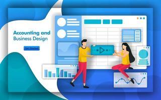 asesores contables brindan asesoría en diseño contable y comercial, sistema de información contable y planificación del impuesto de sociedades son los principales servicios de toda empresa financiera. estilo de vector plano