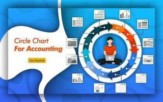 Infographic circle chart for accounting and business purposes. can be for presentations, landing pages, banners, brochures and mobile. hire accountant ads design vector illustration. Flat vector style