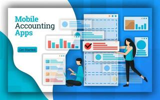 Accounting companies provide Mobile Accounting Apps services for all payroll accounting services. This apps also help in accounting education, free courses and tax return certified. Flat vector style