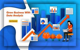 Illustration of Grow Business with data analysis. up arrow indicates sales and trafic. Professional accounting provide virtual bookkeeping services for all accounting service basics. Flat vector style