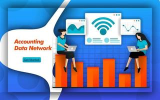 Internet and wifi networks make it easy for Accounting Data Network to determine cost accounting and tax planning. Accounting services provide data access for small businesses. Flat vector style
