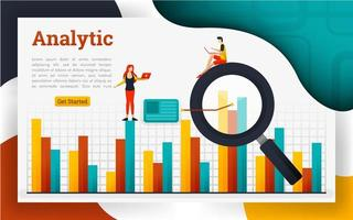 Analysis landing pages for finance and business vector