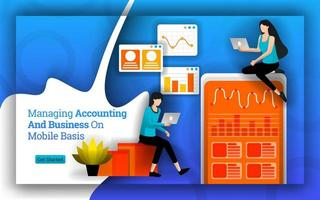 Accounting statistics simplified to managing accounting and Business on Mobile basis. bookkeeping software and apps makes it easy for personal and home business to manage accounting. Flat vector style