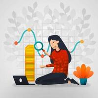 Female workers are curious about line chart reports. flat cartoon vector illustration