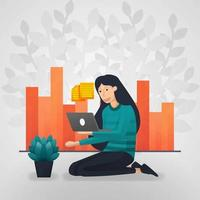 Female workers check documents on laptops. sales report chart. flat cartoon vector illustration