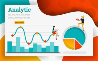Line chart for business technology and marketing concept vector