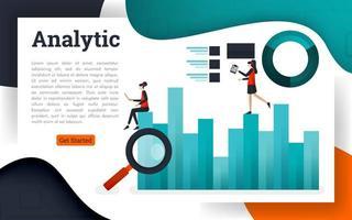 Ilustración vectorial de análisis de datos e investigación de información empresarial. vector