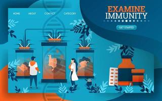 scientists are examining and examining the immune system of the human body. flat cartoon vector illustration