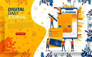application writes a journal for journalism, writes a journal or article with smartphone, concept vector ilustration. can use for, landing page, template, ui, web, mobile app, poster, banner, flayer