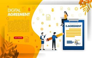 people signing agreements or contracts, digital agreements for businesses and companies, concept vector ilustration. can use for, landing page, template, ui, web, mobile app, poster, banner, flyer