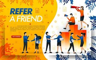 Group of people who shake hands and make deals, businesses to refer a frined and multi level marketing . concept vector ilustration. can use for, landing page, ui, web, mobile app, poster,flayer