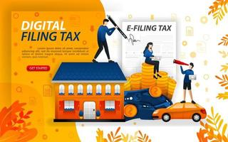 digital filing tax, filling in online taxes, people who report their wealth online, concept vector ilustration. can use for, landing page, template, ui, web, mobile app, poster, banner, flayer