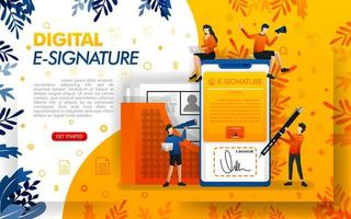 digital signature for document security. E-signatures for business purposes and making agreements, concept vector ilustration. can use for, landing page, template, ui, web, mobile app, poster, banner