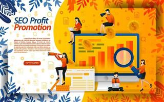 SEO to maximize online promotion. seek profit by streamlining promotions online. increase in sales, concept vector ilustration. can use for landing page, template, ui, web, mobile app, poster, banner