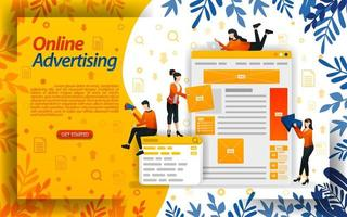 online ads. advertising on search engines. ad placement and PPC pay per click, concept ilustration. can use for landing page, template, ui, web, mobile app, poster, banner, flyer, document, website