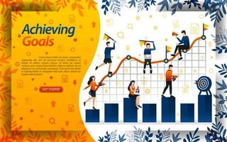 Achieve goals in business. people try to achieve goals in the sales chart, concept vector ilustration. can use for landing page, template, ui, web, mobile app, poster, banner, flyer, document, website