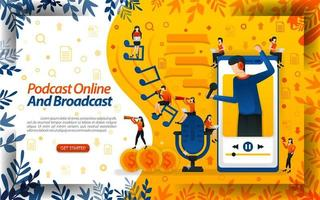 Online influencer and broadcast streamer. live podcast or online radio for smartphone, concept vector ilustration. can use for landing page, template, ui, web, poster, banner, flyer, document, website