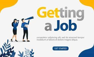personas que buscan trabajo mirando las letras consiguiendo un trabajo, ilustración de vector de concepto. se puede utilizar para la página de destino, plantilla, interfaz de usuario web, aplicación móvil, póster, banner, folleto, fondo, sitio web