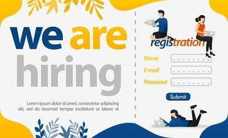 Registration of new employees with word of we are hiring, concept vector ilustration. can use for landing page, template, ui web, mobile app, poster, banner, flyer, background, website, advertisement