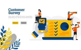 Customer Survey apps with hands holding a smartphone illustration concept can be use for, landing page, template, ui ux, web, mobile app, poster, banner, website vector