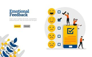 Emotional feedback with emoticons and checklists on smartphones vector illustration concept can be use for, landing page, template, ui ux, web, mobile app, poster, banner, website