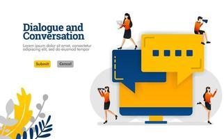 El diálogo y la conversación con el diálogo de burbuja y el concepto de ilustración de vector de pantalla de monitor se pueden utilizar para, página de destino, plantilla, ui ux, web, aplicación móvil, póster, banner, sitio web