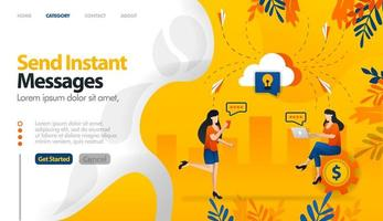 Send instant messages, send messages to storage, cloud storage for conversations vector illustration concept can be use for, landing page, template, ui ux, web, mobile app, poster, banner, website