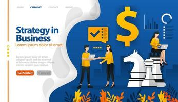 business strategy with chess and money, marketing planning vector illustration concept can be use for, landing page, template, ui ux, web, mobile app, poster, banner, website