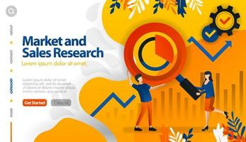 Market and sales research, target marketing and sales, seek profit vector illustration concept can be use for, landing page, template, ui ux, web, mobile app, poster, banner, website
