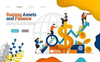 Raising Assets and Finance. grow profits in business, finance, investment and industry. Vector flat illustration concept, can use for, landing page, template, ui, web, homepage, poster, banner, flyer