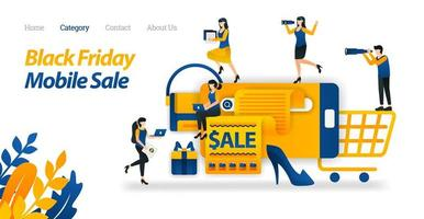 Shop for Black Friday Discounts on Mobile, Search and Find Various Black Friday Sale on Internet. Vector Illustration. Flat Icon Style Suitable for Web Landing Page, Banner, Flyer, Sticker, Wallpaper