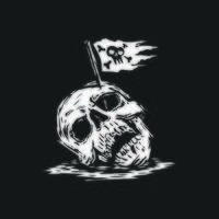 skull head with pirates flag on the head. vector illustration. t shirt,logo,tattoo design.