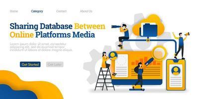 compartir base de datos entre plataformas de medios en línea. acceder a archivos desde muchas plataformas. concepto de ilustración plana vectorial, se puede utilizar para, página de destino, plantilla, web, página de inicio, póster, pancarta, folleto vector