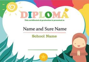 diploma template for muslim kids with nature illustration background vector