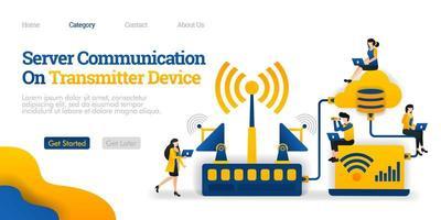 comunicación del servidor en el dispositivo transmisor. transmisor distribuye datos de la base de datos. concepto de ilustración plana vectorial, se puede utilizar para, página de destino, plantilla, interfaz de usuario, web, página de inicio, cartel, banner, volante vector