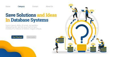 Save Solutions and Ideas in Database System. find solutions and store them in database. Vector flat illustration concept, can use for, landing page, template, ui, web, homepage, poster, banner, flyer
