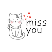 Cat with miss you lettering vector