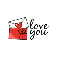 Envelope with love you lettering vector