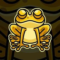 Frog mascot design on black background vector