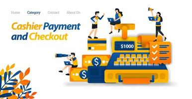 Cash Register Design for Business, Finance and E-commerce Purposes. Money and Credit Card Design. Vector Illustration, Flat Icon Style Suitable for Web Landing Page, Banner, Flyer, Sticker, Wallpaper