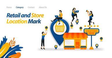 Verifique la ubicación de la tienda o mercado más cercano que proporcione las necesidades diarias. ilustración vectorial, estilo de icono plano adecuado para página de destino web, banner, volante, pegatina, papel tapiz, compras, fondo vector