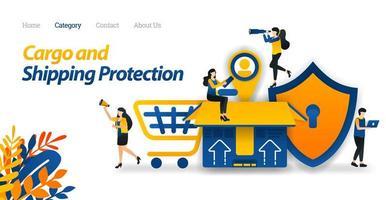Los servicios de envío protegen todo tipo de paquetes y carga con la máxima seguridad hasta el etiquetado de los clientes. ilustración vectorial, estilo de icono plano adecuado para página de destino web, banner, volante, pegatina vector