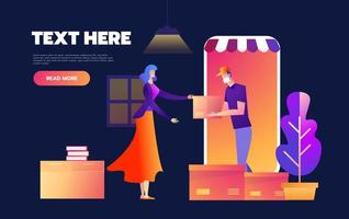 Online shopping on internet using mobile smartphone. Fast delivery concept vector illustration in flat style design. Courier stays in shop door that looks like phone and gives parcel to customer